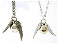 Wholesale Wing Necklace Men - HP necklace snitch silver bronze angel wing pendant necklace women men Jewelry Vintage Quidditch necklace free shipping