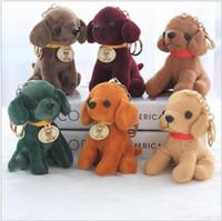 Wholesale Dog Ring Toy - 12cm Cute Plush Doll Dog Toy Key Chain Ring Woman Bag Charms Plush Stuffed Car Keychain Party Gift KKA3597