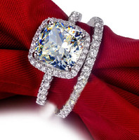 Wholesale Stone Cushions - Women's Cushion-cut Diamond Simulated CZ 925 Silver Filled Engagement Wedding Couple Ring Set