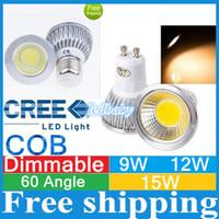 mr16 led lampara de luz regulable al por mayor-CREE COB Proyectores GU10 E27 E26 E14 MR16 Regulable Led 9W 12W 15W led Bombillas CRI85 Alta potencia Led Luces Lámpara AC110-240V