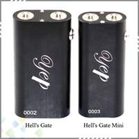 Wholesale E Cigarette 2pcs - Vaporizer Hells Gate Mini Mod Box Vape Hell's Gate Mini E Cigarette for 2pcs 18650 Battery 2 Yep RDA Atomizer DHL Free