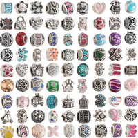 Wholesale Heart Roll - Mix Style European Murano Matel Big Hole Roll Beads Loose Beads Fit For European Bracelets&Necklace DIY BEADS