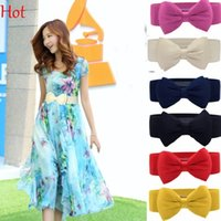 Wholesale Elastic Stretch Bows - 2015 Hot Sale Women Girls Chiffon Bowknot Elastic Bow Wide Stretch Buckle Waistband Bowknot Waist Belt Black Yellow Red Cummerbund SV001892