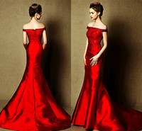 Wholesale Top Quality Satin Mermaid - Off Shoulder Formal Wemen evening dresses Mermaid Red Zipper Sequins Bling Bling Satin Draped Top quality Customed Vestido Dress party GownW