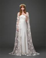 Wholesale Event Jackets - Bridal Cape Jackets Floor Length Lace Shawl Cloak 2016 New Long Bolero Shawl Coats Bridal Accessories Wedding Events Wraps Free Shipping