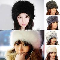 Wholesale Russian Cossack Hat Black - Wholesale-2015 New Style Ladies Faux Fur Winter Ski Russian Cossack Style Hat Headband Ear Warmer 6 Color