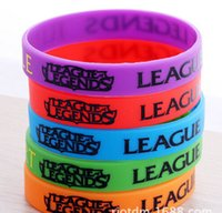 Wholesale Silicone Cuffs - Silicone Bracelets LOL League of Legends Game Creeper Sport wristband cuff accessories Creeper Wrist Band 5 Color Bracelets 2015