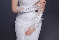 Bridal Gloves sparkle glove - Beautiful bride slimming lace Bridal gloves sparkling diamond wedding dress sexy transparent long project refers to gloves
