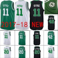Wholesale Al Jerseys - 2017-18 New Men's Boston 11 Kyrie Irving 0 Jayson Tatum 20 Gordon Hayward 7 Jaylen Brown 42 Al Horford Green Jersey Celtics Jerseys