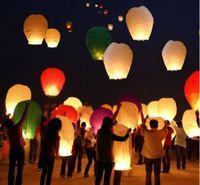 Wholesale Sky Balloon Free Shipping - 2015 Hot Selling Heart Sky Lanterns,Wishing Lantern Fire Balloon Chinese Kongming Lantern Wishing Lamp Outdoor Lighting Free Shipping