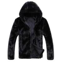 Wholesale Rabbit Fur Coat Black - Wholesale- Hot sell 2016 new winter faux fur coat Men black warm fashion Soft and comfortable rabbit fur thick hooded jacket male fur coat