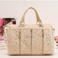 Wholesale Faux Leather Trunks - Fashion New Women Lady Retro Lace Designer PU (Faux) Leather Women's Handbag Tote Crossbody Shoulder Bags Small H10516