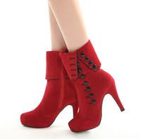 kırmızı düğmeli topuklu ayakkabı toptan satış-2018 YENI 2 Renkler ile Kore Tasarımcı Ayakkabı 10 cm Yüksek topuklu düğme moda kadın kış kırmızı Kısa çizmeler eklemek peluş NXZ124
