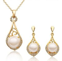 Wholesale Pink Real Pearls Earrings - Fashion Women New Fine Jewelry 18K Real Gold Plated Wedding Jewelry Sets For Women Top Quality Pearl Pendant Chains Necklaces Sets