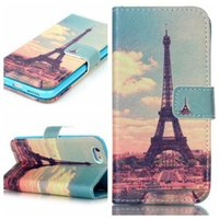 Cartera Flip Leather Case Cove para el iPhone 5 5S 5C 6 6S Plus Tower Flower con la cubierta del sostenedor orden de la mezcla