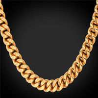 Wholesale Imitation Guns - U7 Layered Curb Link Chain Necklace Bracelet 18K Real Gold Rose Gold Platinum Black Gun Plated 6 Sizes Fashion Men Jewelry Accessories