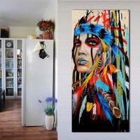 decoração da sala de estar da pena venda por atacado-1 Painel de Retrato Da Arte Da Lona Retratos Da Parede Para Sala de estar Mulher Emplumado Pride Pintura Home Decor Impresso Sem Moldura