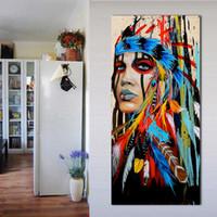 amerikanische indische malereien großhandel-1 Panel Porträt Leinwand Kunst Wandbilder Für Wohnzimmer Indische Frau Gefiedert Stolz Malerei Wohnkultur Gedruckt Kein Rahmen