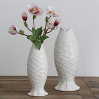 Wholesale Wholesale White Ceramic Vase - Ceramic vase vintage white Fish shape Storage Holder Creative Potted plants pots home Decor simple Solid color vase 2 style 2018 wholesale
