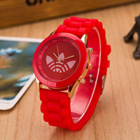 Wholesale Jelly Watch Unisex - Wholesale-2015 Fashion Unisex Sport Watch Jelly Silicone Quartz Women watches Clover Dress AD Wrist Watch Reloj Mujer Christmas Gift