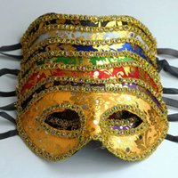 Wholesale Cheap Masks For Masquerade Ball - Cheap 7 Colors Masquerade Mask Gold Face With Border Mask Unisex Design Half Face Costume Ball Eye Mask 20pcs Free Ship