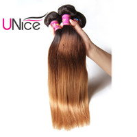 Wholesale remy hair 27 - UNice Hair Ombre Straight Brazilian Human Hair Weaving 16-26inch T1B 4 27 Bundles 1Piece Unprocessed Non Remy Hair Extensions
