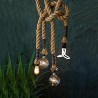 Wholesale coffee lamps - Vitage Loft rope pendant light Industrial Edison lamp American style E27 E14 110V 220V 2.5M for Loft coffee Bar Restaurant pendant lamps