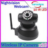 Wholesale Wireless Ir Webcam - Wireless IP Camera WIFI Webcam Night Vision(UP TO 10M) 10 LED IR Dual Audio Pan Tilt Support YX-DV-06