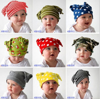 Wholesale Ox Horn Caps - Baby Ox Horn Cap Infant Cute Beanie Hat 9 Colors Boys Girls Striped Polka Dots Camouflage Skullcap I4331