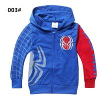 Wholesale Spiderman Embroidered - Children Hoodies Sweatshirts Autumn Long Sleeve Coat Boys Spiderman Embroidered Hoodie 100% Cotton Cartoon Clothe Baby Outerwear 2-8year