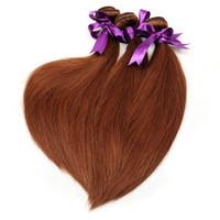 Wholesale Cheap Colored Hair Dye - 4 Pcs Lot 33# Auburn Brazilian Human Hair Bundles Brazilian Peruvian Malaysian Human Hair Weave Cheap Colored Virgin Hair Extensions