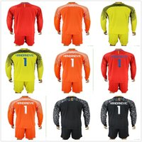2017 18 Long Milan Goalkeeper Kits Orange Black Inter Goalie Soccer Sets # 1 Samir Handanovic Goleiro Jersey Padelli Men Football Uniform