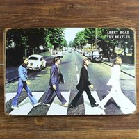 Wholesale Vintage Cafe Decor - ABBEY ROAD THE BEATLES Decor CAFE BAR Tavern Garage Tin Sign Vintage Metal Painting Home Decor Art Poster Wall Decoration