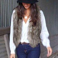 Wholesale Gray Fur Shawl - New Arrival Shawl Sleeveless Coat Women Waistcoat Fur Vest Shaggy Vest Faux Fur Womens Coat 4colors