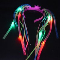 Wholesale Rave Hair - Light-Up Hair Extension Noodle Headband LED Flashing Rave Braid Halloween Props