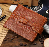 Wholesale Leather Wallets Drivers License - 2016 Fashion Brand New Alligator Grain Men Genuine Leather Wallets Black Brown Coin Card Holder Driver License Purse Wallet