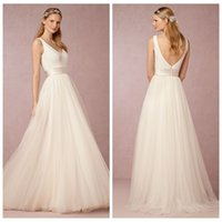 Wholesale Tulle Dresses For Cheap - A Line 2016 Wedding Dresses White Bridal Gowns Cheap Modest Tulle V Neck Strap Sleeveless Backless Zipper Sweep Train Fashion For Bridal