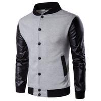 Wholesale wool coat leather sleeves men - Spring Autumn Men's Jackets Black Brand Man Jacket Coat Retro Varsity Wool Synthetic Leather man Jacket M-2XL