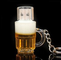 Wholesale Beer Usb - New arrives beer cup 32GB 64GB 128GB USB2.0 usb flash drive pendrive flash memory retail package free hongpost shipping