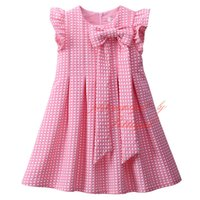 Wholesale Girls Summer Dresses Wholesale - Pettigirl Hot Sale Pink Cute Dot Girls Summer Dress Decorated With Bow Belt Stylish O-Neck Kids Dress Wholesale Baby Clothing GD81030-241F