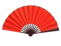 "Wholesale Large Folding Fans - 10"" 8"" Large Pure Red Dance Show Props Hand Fans DIY Program Chinese Silk Folding Fan 10pcs lot Free shipping"