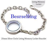 Wholesale Plain Circle Charm - 5pcs 25mm lovely Silver plain round Circle Living Memory Locket Bracelet For Floating Charm