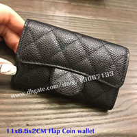 Wholesale christmas camellia - 5A Quality Women's Fashion Camellia Wallets Genuine Leather Caviar Card Holder Mini Flap Bag Wallets 2018 Female Coin Pouch Purse With Box