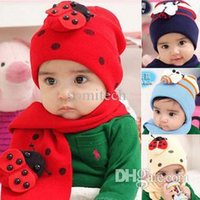 Wholesale Child Baby Hat Twinset - baby hat scarf twinset Cotton Beatles hat children hat+scarf Toddler animal
