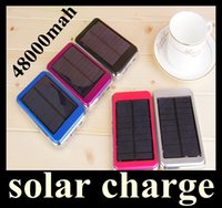 Wholesale Usb Laptop Battery - Dual USB Charging Ports 5V 2.1A 1.5W Solar Panel Charger 48000mAh Travel Power Pack Battery power bank for iPhone Samsung HTC ipad