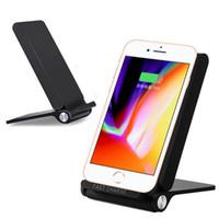 iphone katlanır stand toptan satış-3 Bobinler Q600 Hızlı Kablosuz Şarj 9 V 1.67A Qi Şarj Katlanır İstasyonu iPhone için Standı Galaxy Not 8 S8 Perakende paket 10 adet / grup