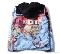 Wholesale cardigan match - Fashion Brand National Flags Reflective Jacket World Map Printed Windbreaker Cardigan Hoodies Hat Removable Color Matching Sportwear Jacket