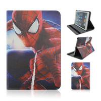 Wholesale apple tablet cases for sale - Group buy Cartoon Spider Man Batman Superman captain PU Cases Wallet Cases Smart Cover quot inch quot inch quot inch universal Tablet cover