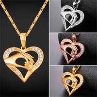 Wholesale Platinum Designs - U7 Jewelry Mom Baby Hand in Hand Pendant Necklace Hollow Design Gold Platinum Rose Gold Plated Jewelry Lover Perfect Gift For Mom P2595
