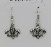 Wholesale Antique Fleur Lis - Earring, Antique Silver * Fleur De Lis * SP Earrings Antique Silver Fishhook Ear Wire 37x18 mm (ab631)